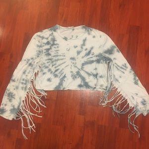 Milk It Vintage tie dye long sleeve crop top
